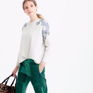 NWOT J. Crew Sequin Sleeve Merino Wool Sweater XL